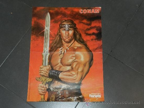 (M) POSTER CONAN , EDC FORUM 1985 - 54 X 39 CM, MARCAS DE ESTAR PLEGADO (Tebeos y Comics - Forum - Conan)
