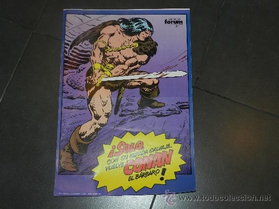 (M) POSTER CONAN EL BARBARO - COMICS FORUM, MARVEL 1983 - 49'5 X 34 CM, MARCAS DE ESTAR PLEGADO (Tebeos y Comics - Forum - Conan)