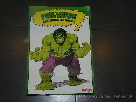 (M) POSTER HULK - PIEL VERDE APLASTARR DE NUEVO - COMICS FORUM 1983 - 49 X 34 CM, MARCAS DE PLEGADO (Tebeos y Comics - Forum - Hulk)