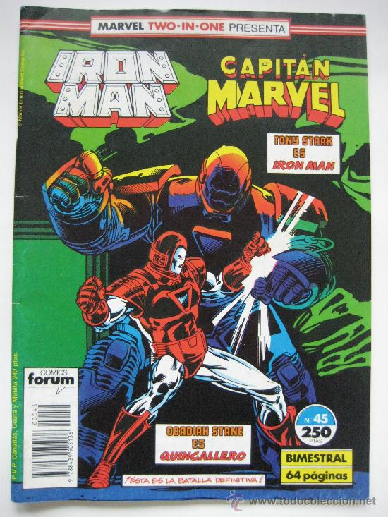 IRON MAN Nº 45 VOL. 1. Y CAPITAN MARVEL. TWO-IN-ONE. FORUM (Tebeos y Comics - Forum - Iron Man)