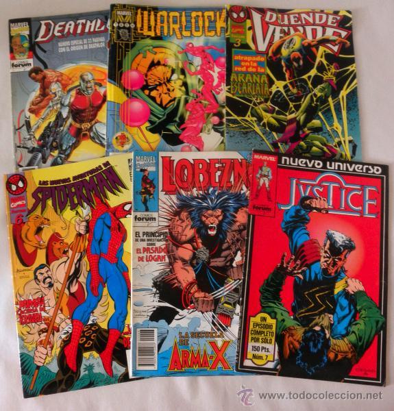 LOTE 6 COMICS MARVEL * SPIDERMAN 6 * LOBEZNO 43 * JUSTICE 7 * DEATHLOK 1 * DUENDE VERDE 3 * WARLOCK (Tebeos y Comics - Forum - Otros Forum)
