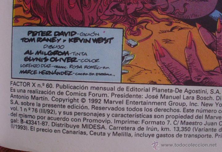 Cómics: Factor X, Tomo 13, Números 60 al 65, Editorial Planeta DeAgostini, Comics Forum, año 1993, Usado - Foto 6 - 46985545