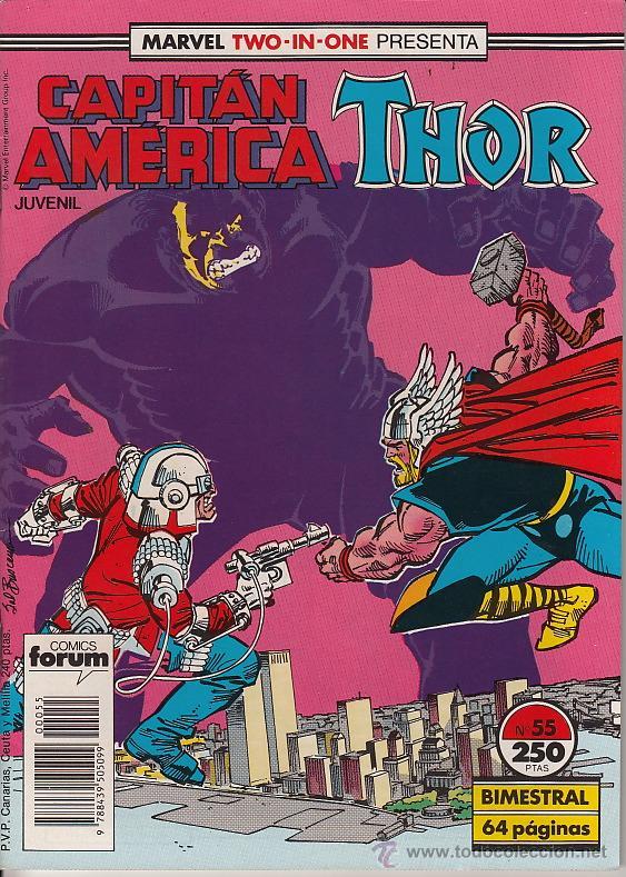 MARVEL TWO-IN-ONE: CAPITAN AMERICA / THOR VOL.1 # 55 (FORUM,1989) (Tebeos y Comics - Forum - Capitán América)
