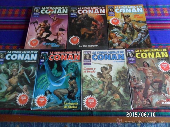 FORUM SERIE ORO SUPER CONAN NºS 1 2 3 4 5 6 7 2ª SEGUNDA ED 1989 SIN USO REGALO 98 99 ESPADA SALVAJE (Tebeos y Comics - Forum - Conan)