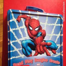 Cómics: CAJA METALICA MARVEL SPIDERMAN 30X27X5 CM. CON 8 CUADERNILLOS VARIADOS. MADE IN U.S.A.. Lote 88887284