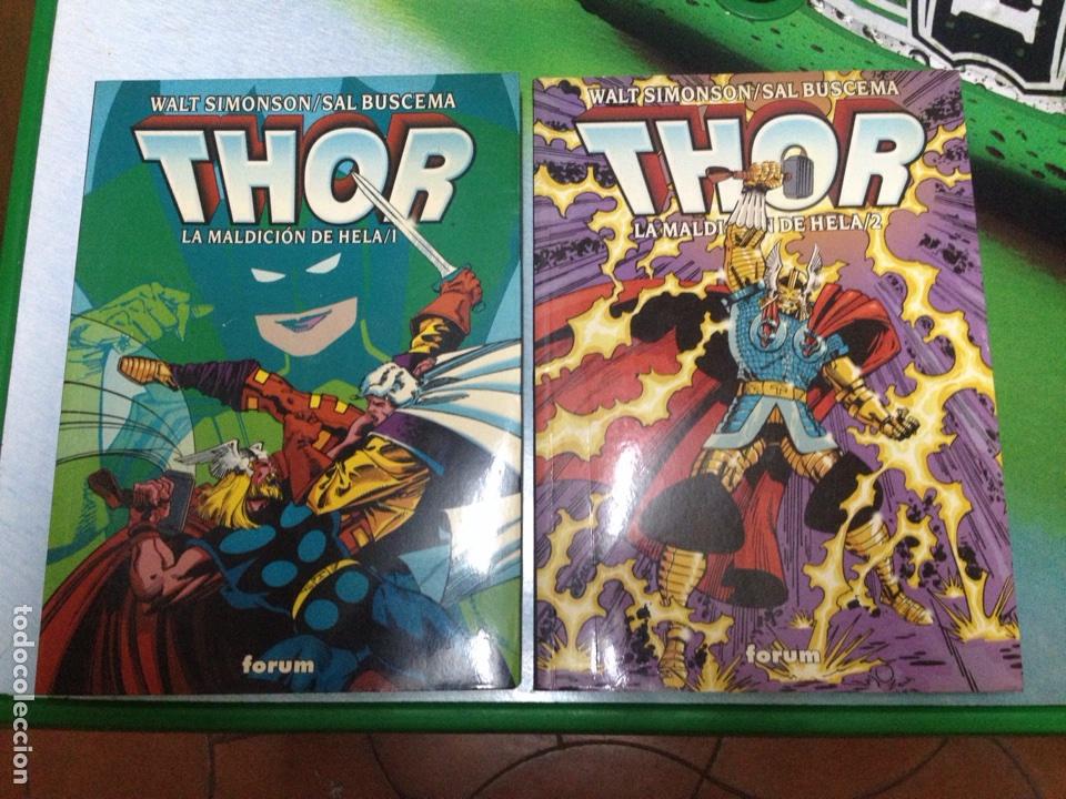 COMIC SUPERHEROES MARVEL FORUM: THOR LA MALDICION DE HELA 1 Y 2 COMPLETA SEMINUEVO 1ª ED SIMONSON XX (Tebeos y Comics - Forum - Thor)