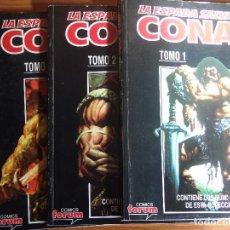 Cómics: LA ESPADA SALVAJE DE CONAN VOL2 FORUM COMPLETA 10 COMICS DOBLES EN TRES RETAPADOS. Lote 96977463