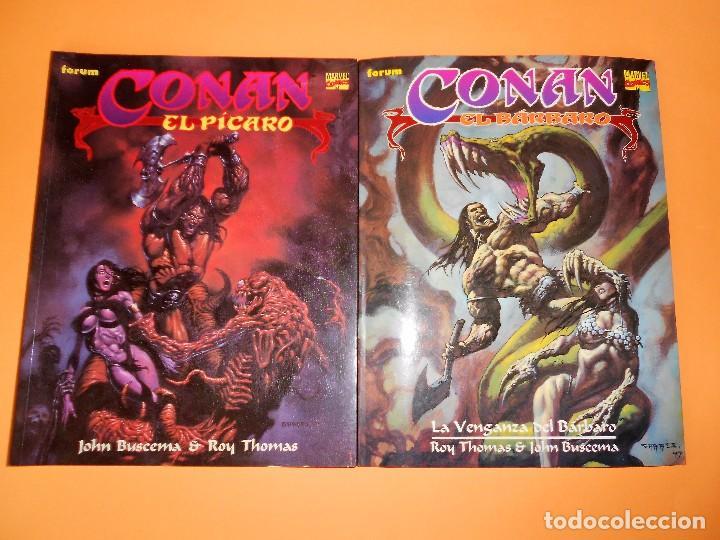 CONAN EL BARBARO. ROY THOMAS & JOHN BUSCEMA. DOS NOVELAS GRAFICAS IMPRESCINDIBLES. MUY BUEN ESTADO (Tebeos y Comics - Forum - Conan)