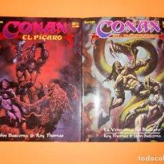Cómics: CONAN EL BARBARO. ROY THOMAS & JOHN BUSCEMA. DOS NOVELAS GRAFICAS IMPRESCINDIBLES. MUY BUEN ESTADO. Lote 99719115