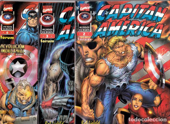 LOTE 3 COMICS CAPITÁN AMERICA - HEROES REBORN NÚMERO 2, 3 Y 6 - COMICS FORUM 1997 (Tebeos y Comics - Forum - Capitán América)