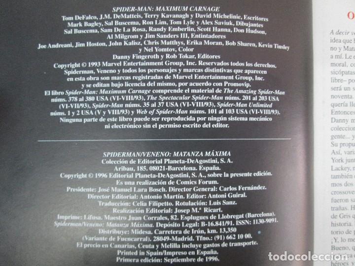 Cómics: SPIDERMAN. MATANZA MAXIMA. DE MATTEIS. KAVANAGH. BAGLEY. EDITORIAL FORUM PLANETA AGOSTINI. 1996 - Foto 9 - 131093284