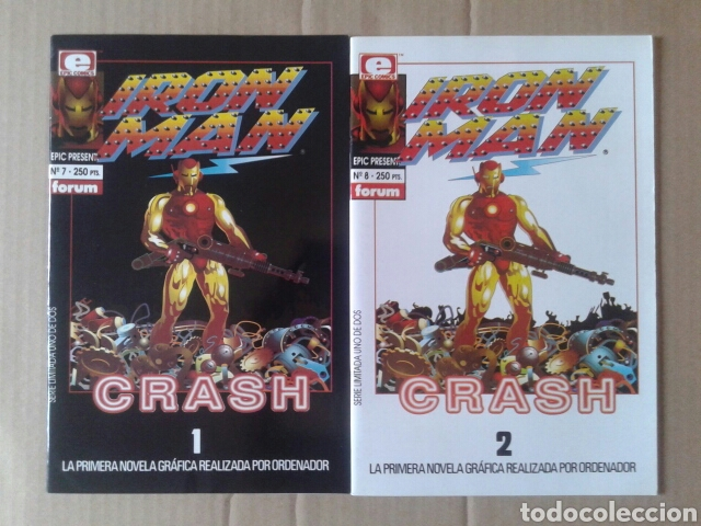 Cómics: Lote Iron Man Crash 1 y 2 (Epic Presents números 7 y 8). Por Mike Saenz (Comics Forum, 1992) - Foto 1 - 132448729