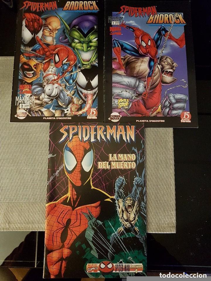 LOTE DE 3 COMICS DE SPIDERMAN - BADROCK NºS 1 Y 2 + LA MANO DEL MUERTO - FORUM Y PLANETA - NUEVOS (Tebeos y Comics - Forum - Spiderman)