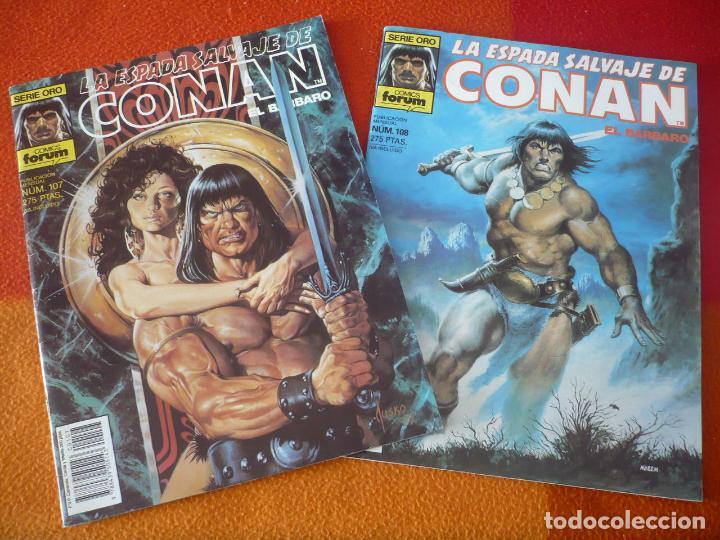 LA ESPADA SALVAJE DE CONAN NºS 107 Y 108 SERIE ORO 1ª EDICION ¡BUEN ESTADO! FORUM MARVEL (Tebeos y Comics - Forum - Conan)