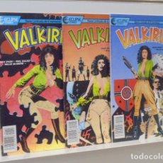 Cómics: LOTE 3 NUMEROS VALKIRIA Nº 1-2 Y 3 ECLIPSE COMICS - FORUM -. Lote 165664250