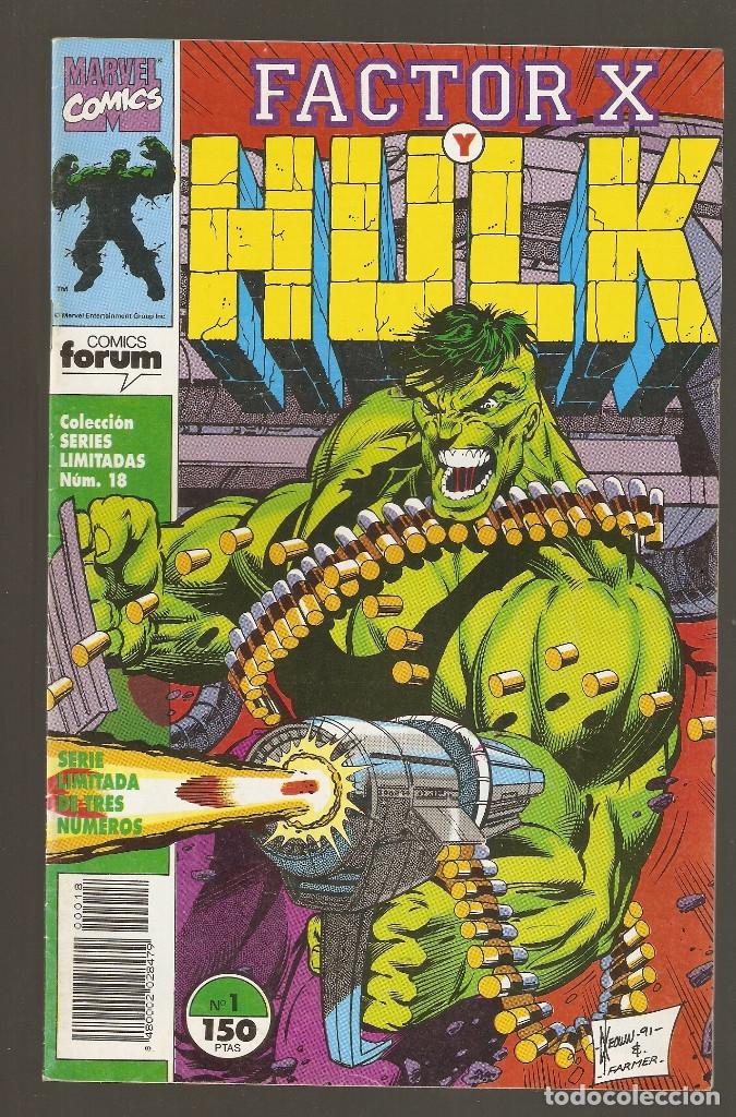 Cómics: FACTOR X Y HULK - Nº 1 - 2 Y 3 COMPLETA - SERIES LIMITADAS vol.1 nº 18 - 19 Y 20 - 1992 - FORUM - - Foto 2 - 177703679