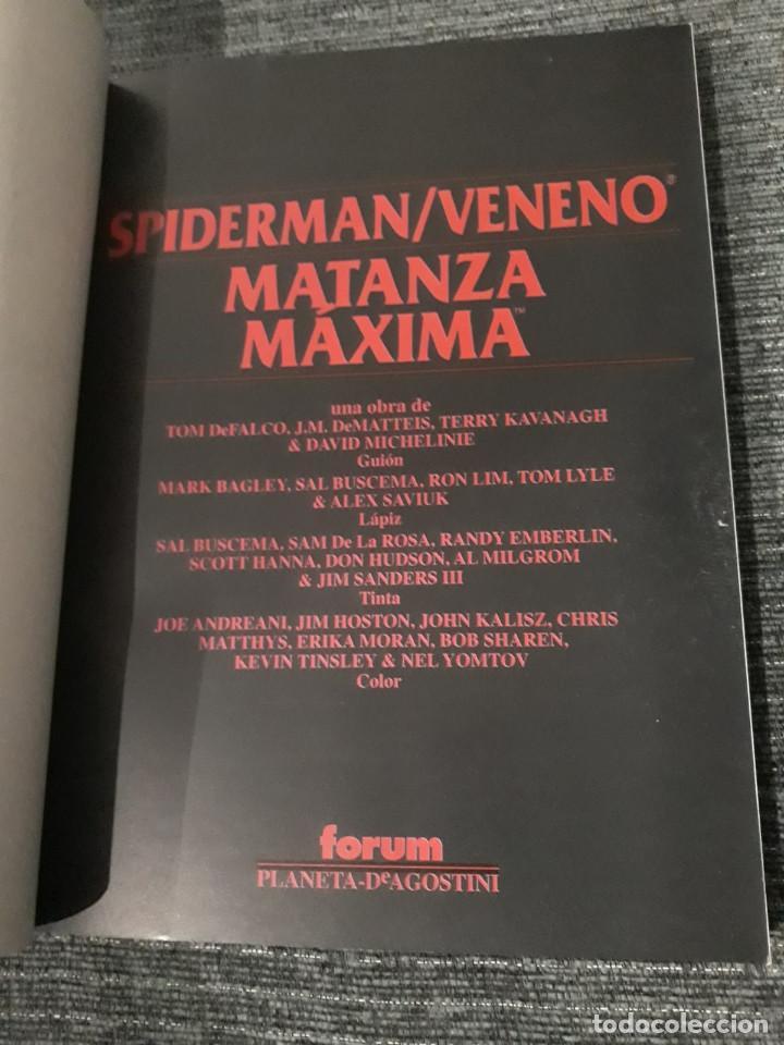 Cómics: SPIDERMAN - VENENO: MATANZA MAXIMA - Tom De Falco - J. M. De Matteis - Terry Kavanagh - David Michel - Foto 2 - 190292445