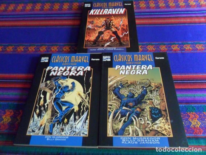 CLÁSICOS MARVEL BLANCO Y NEGRO PANTERA NEGRA 1 Y 2 Y KILLRAVEN 1. FORUM 1999. MUY BUEN ESTADO. (Tebeos y Comics - Forum - Retapados)
