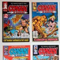 Cómics: 4 CONAN EL BARBARO - FANTASIA HEROICA Nº 15 / 28 / 41 / 58 - ROY THOMAS - FORUM . Lote 194526753