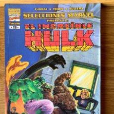 Cómics: SELECCIONES MARVEL PRESENTA: EL INCREÍBLE HULK - CURA PARA UN MONSTRUO. Lote 205005678