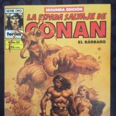 Comics : LA ESPADA SALVAJE DE CONAN EL BÁRBARO VOL.1 N.33 LOS HABITANTES DE LAS PROFUNDIDADES ( 2@ EDICIÓN ). Lote 233671485