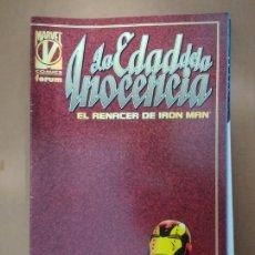 Cómics: LA EDAD DE LA INOCENCIA. EL RENACER DE IRON MAN. FORUM. Lote 234783740