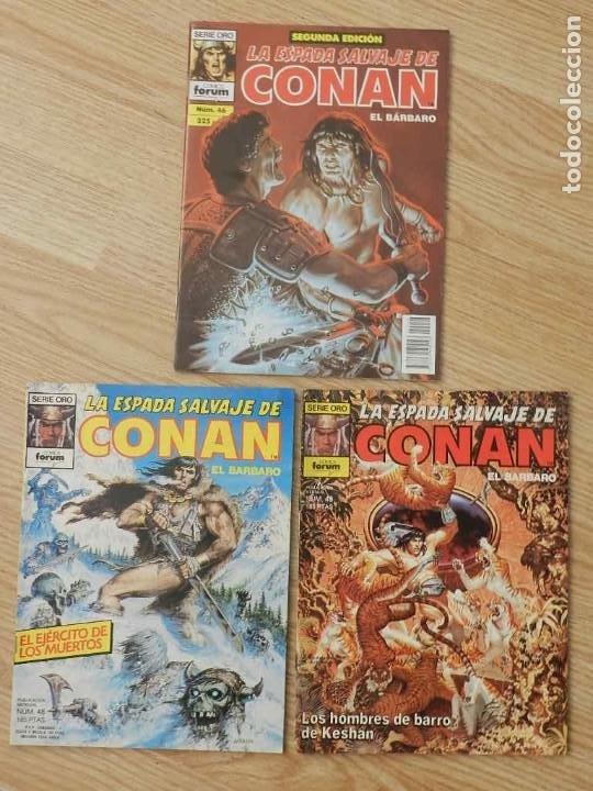 LOTE 3 LA ESPADA SALVAJE DE CONAN VOL.I VOLUMEN 1 FORUM SERIE ORO NÚM. 46, 48 Y 49 (Tebeos y Comics - Forum - Conan)