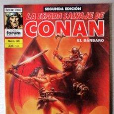 Cómics: LA ESPADA SALVAJE DE CONAN EL BARBARO Nº 34 - 2ª EDICIÓN - FORUM 1994 ''EXCELENTE ESTADO''. Lote 244746720