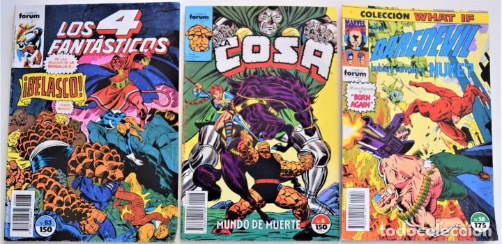 LOTE 3 TEBEOS FORUM - LOS 4 FANTÁSTICOS Nº 83 - DAREDEVIL Nº 58 - LA COSA Nº 8 (Tebeos y Comics - Forum - Otros Forum)