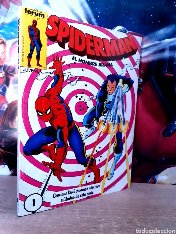 CASI EXCELENTE ESTADO SPIDERMAN 1 AL 5 INCLUYE POSTER CENTRAL RETAPADO COMICS FÓRUM (Tebeos y Comics - Forum - Retapados)