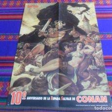Cómics: PÓSTER 10º ANIVERSARIO DE LA ESPADA SALVAJE DE CONAN. FORUM 1992. 54X38 CMS.. Lote 261956095