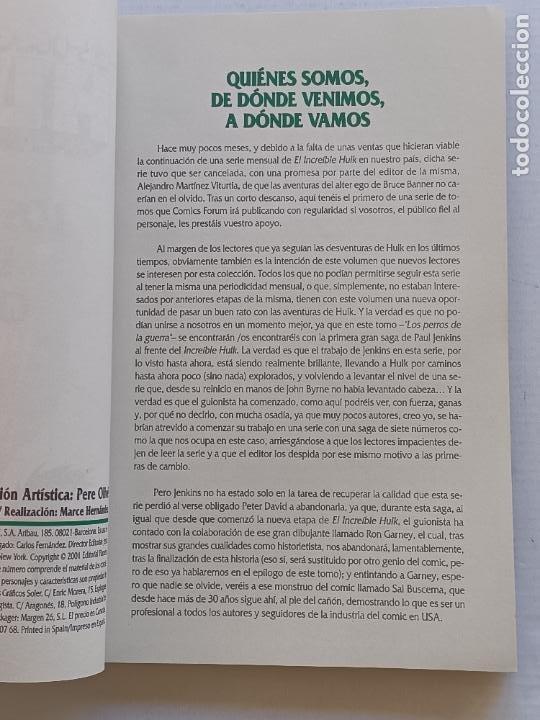 Cómics: EL INCREÍBLE HULK LOS PERROS DE LA GUERRA PAUL JENKINS FORUM - Foto 2 - 266904184