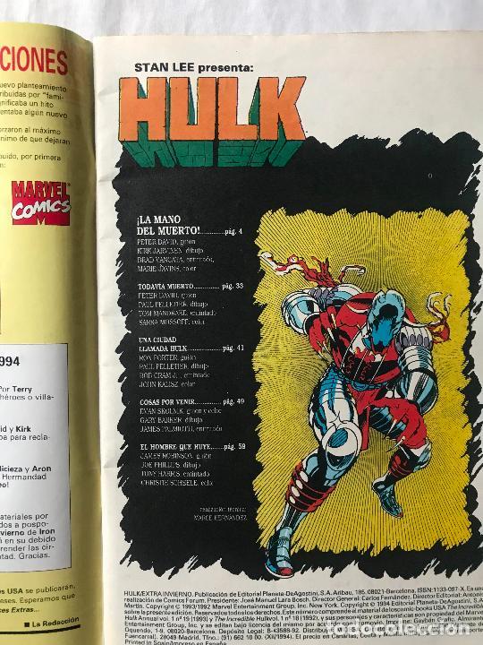 Cómics: HULK EXTRA INVIERNO 1994 ( PETER DAVID ), MUY BUEN ESTADO, FORUM MARVEL - Foto 3 - 287686468