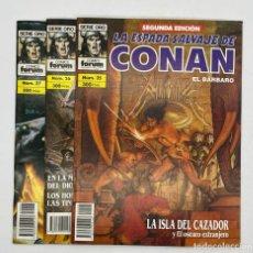 Cómics: LA ESPADA SALVAJE DE CONAN EL BARBARO SERIE ORO COMICS FORUM 2º EDICIÓN - N.º 25-26-27. Lote 291513823