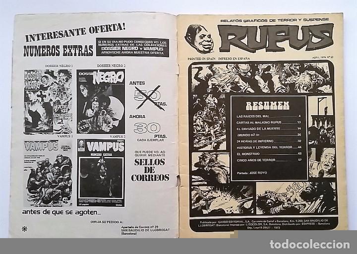 Cómics: RUFUS NÚMERO 23. RELATOS GRÁFICOS DE TERROR Y SUSPENSE. EDITORIAL GARBO. - Foto 2 - 77891117