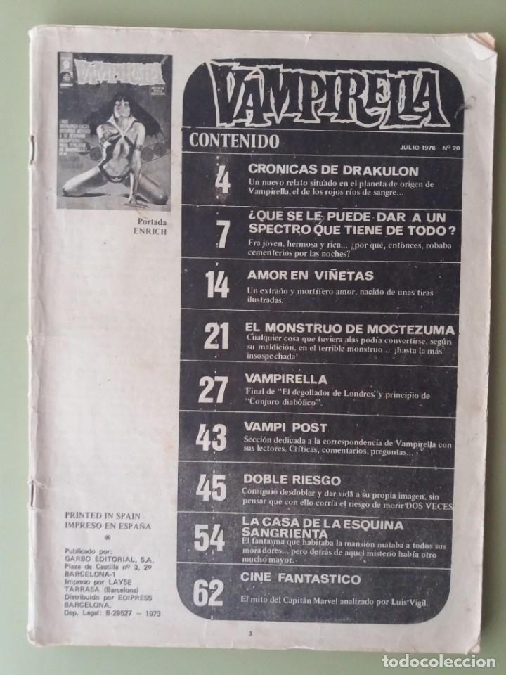 CÓMIC VAMPIRELLA,EDITORIAL GARBO,EN ESPAÑOL,AÑO 1976,Nº20 (Tebeos y Comics - Garbo)