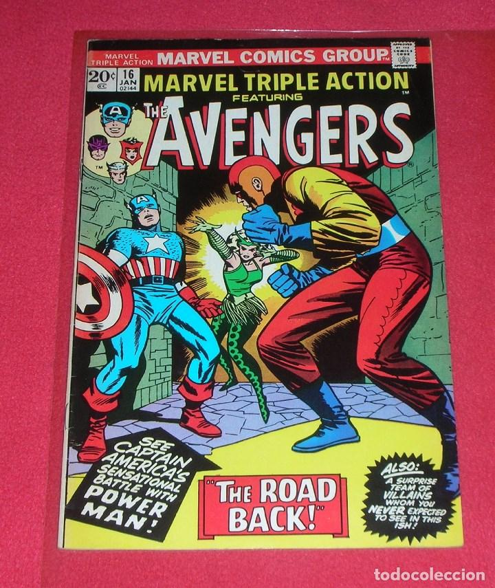 MARVEL TRIPLE ACTION THE AVENGERS THE ROAD BACK .NO.16 .JAN. 1974,IS ORIGINAL, NOT COPY NO REPRINT (Tebeos y Comics - Glénat - Comic USA)