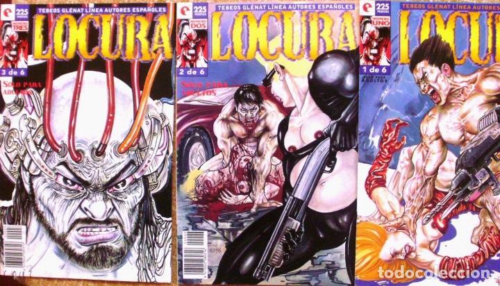 LOTE DE 3 COMICS DE LOCURA, TEBEOS GLENAT, 1996 (Tebeos y Comics - Glénat - Serie Erótica)