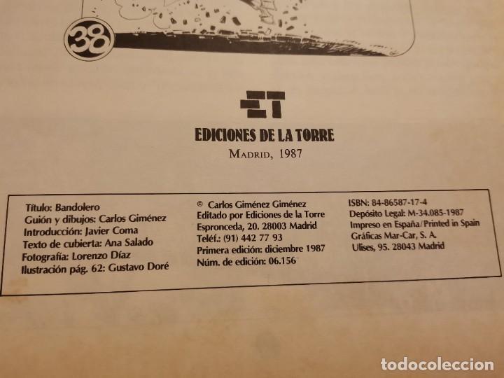 Cómics: BANDOLERO HISTORIA VERDADERA Y REAL JUAN CABALLERO EDICIONES LA TORRE 1ERA ED. 1987 - Foto 2 - 235364910