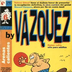 Cómics: BY VAZQUEZ-6 (GLÉNAT, 1995) DE MANUEL VÁZQUEZ. Lote 290051388