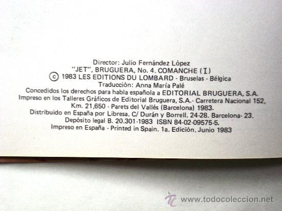 Cómics: COMANCHE I - Hermann & Greg- JET BRUGUERA Nº 4 1ª PRIMERA Edición 1983 Tapa DURA Coleccionistas - Foto 4 - 33757065