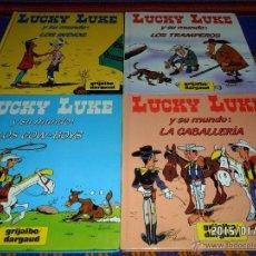 Cómics: LUCKY LUKE Y SU MUNDO COMPLETA COW-BOYS, CABALLERÍA, INDIOS Y TRAMPEROS. GRIJALBO 1985. RAROS!!!!!. Lote 47468183