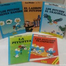 Cómics: LOTE 5 LOS PITUFOS. OLÍMPICOS. PITUFITA. EL CRACOUCAS. TIENEN HAMBRE. EL LADRÓN. GRIJALBO. NUEVO.. Lote 98029680