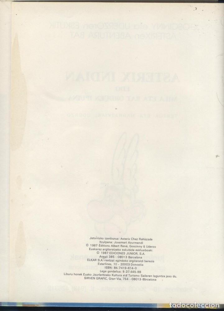 Cómics: Asterix Indian 1ª ed. Euskera 1987 Tapa dura Como nuevo, sin señales - Foto 2 - 155583182