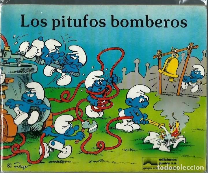 PEYO - LOS PITUFOS BOMBEROS - ED JUNIOR 1982, LIBRO ILUSTRADO, FORMATO APAISADO, MUY RARO (Tebeos y Comics - Grijalbo - Otros)