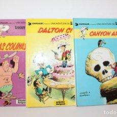 Cómics: LUCKY LUKE - LOTE DE 3 LIBROS - LAS COLINAS NEGRAS - CANYON APACHE - DALTON CITY. Lote 166296154