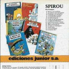 Cómics: FOLLETO PUBLICITARIO DE LAS AVENTURAS DE SPIROU Y FANTASIO DE EDICIONES JUNIOR. Lote 169009940