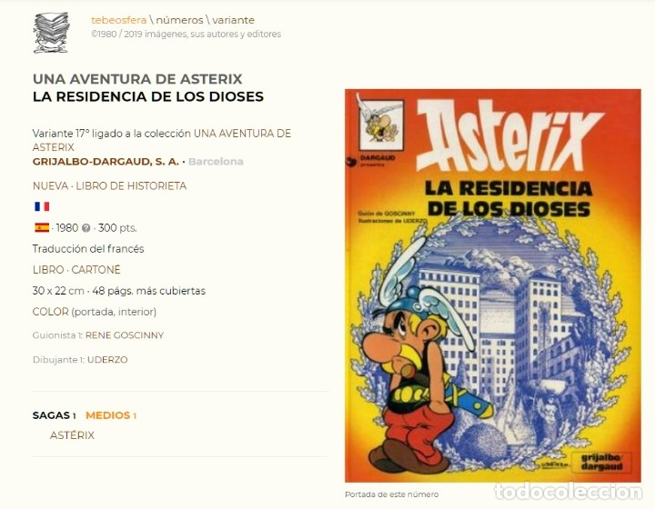 Cómics: Asterix. La residencia de los dioses. Albert Uderzo. Rene Goscinny. Grijalbo 1980. Tapa dura - Foto 2 - 173526683