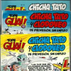 Cómics: LOTE DE 3 TOPE GUAI Nº 4, 12 Y 18 - IBAÑEZ - CHICHA, TATO Y CLODOVEO - EDICIONES JUNIOR 1987-. Lote 178363785