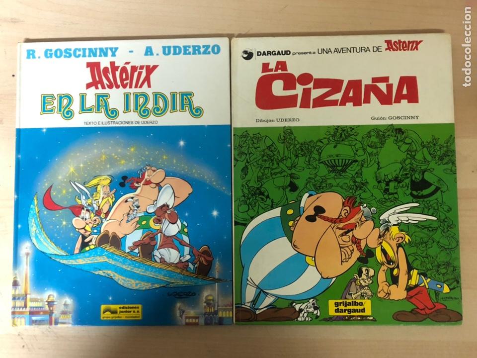 2X ASTERIX TAPA DURA. EN LA INDIA 1987 EDICIONES JÚNIOR. LA CIZAÑA 1970 GRIJALBO (Tebeos y Comics - Grijalbo - Asterix)